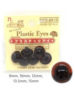 Hamanaka H430-302 Clear Brown Plastic Crystal Eyes