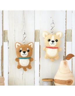 [H441-420] Hamanaka Felt Wool kit - Shiba & Chihuahua strap