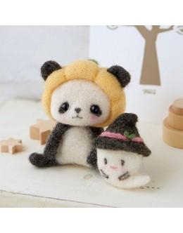 [H441-430] Hamanaka Felt Wool kit - Pumpkin hat Panda and Ghost