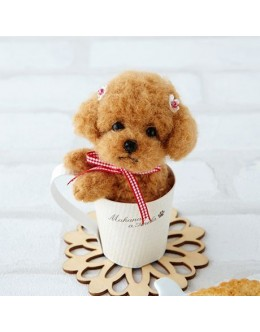 [H441-438] Hamanaka Real Felt Wool Mascot Dog In A Cup Toy Poodle Kit