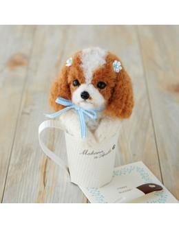 [H441-439] Hamanaka Real Felt Wool Mascot Dog In A Cup Cavalier Kit