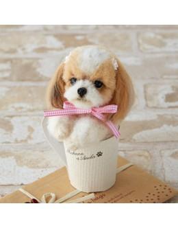 [H441-440] Hamanaka Real Felt Wool Mascot Dog In A Cup Shih Tzu Kit